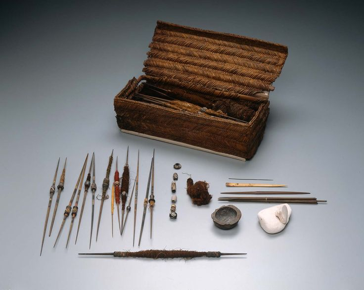 Weaver's basket and implements